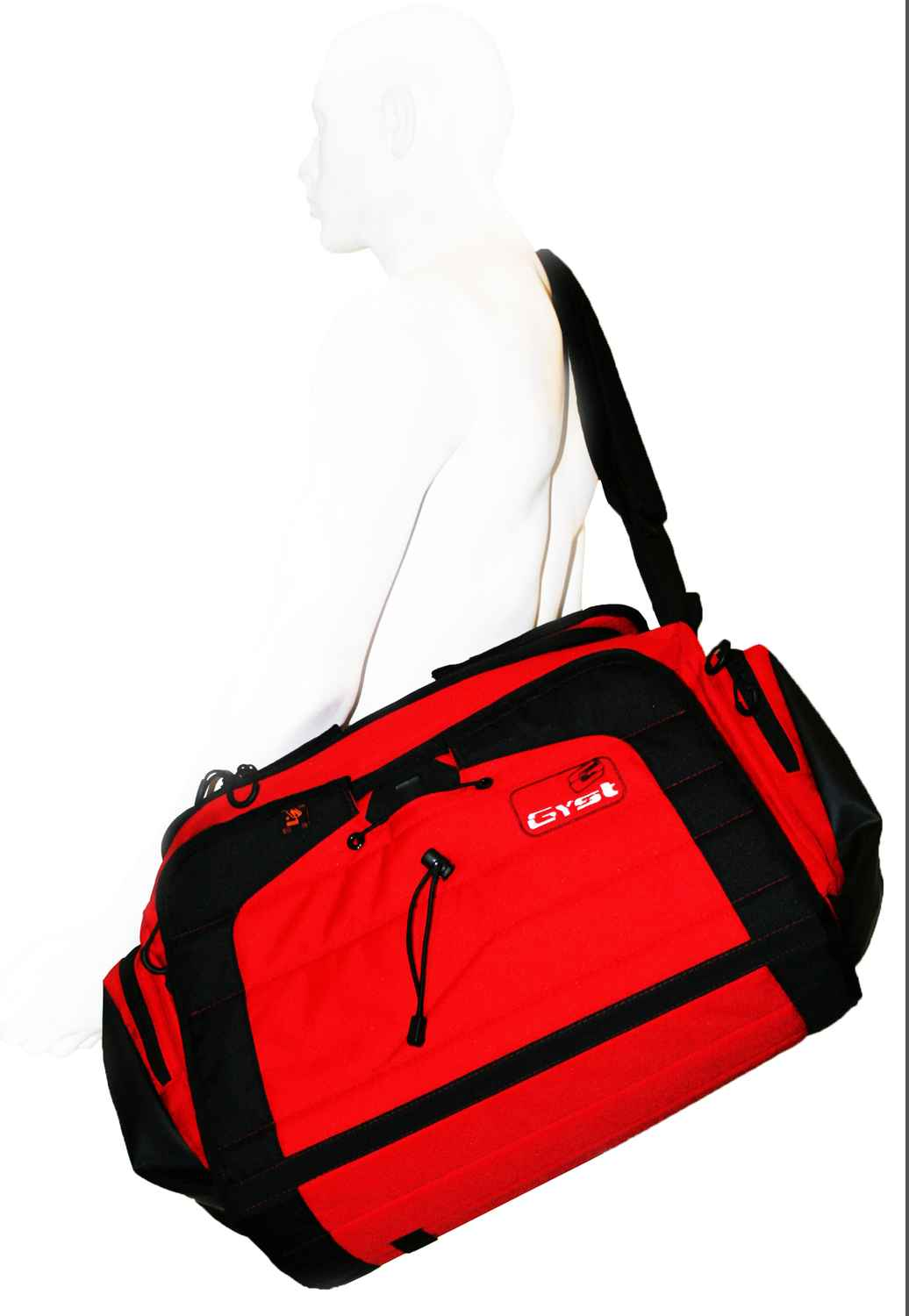 G Y S T / GYST DB1-18 DUFFEL BAG, BLACK/RED